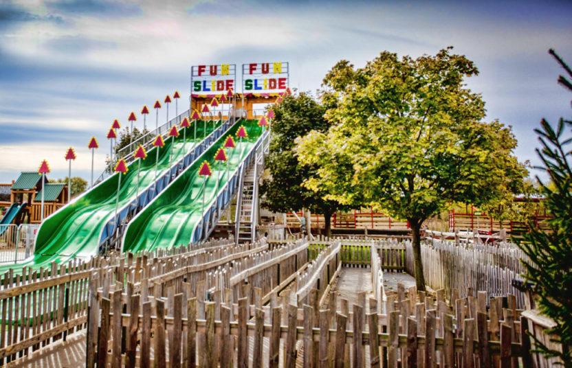 90 Foot Long Mega Fun Slide at Chicago's Best Pumpkin Patch Bengtson Farm