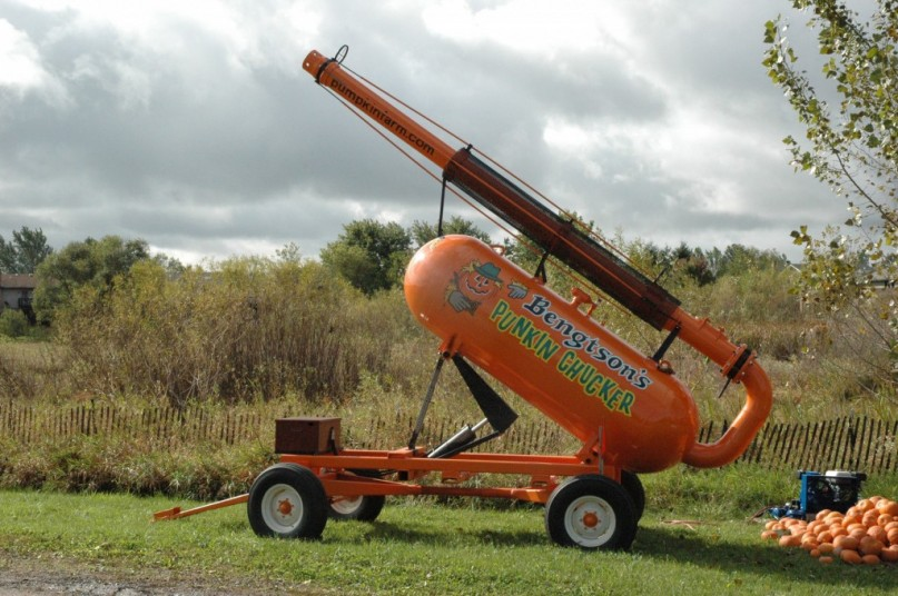 Pumpkin Cannon ready to fire