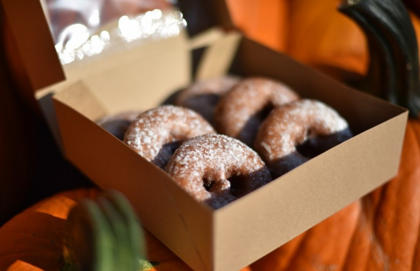 A boxfull of apple cider donuts from Bengtson's Pumpkin Fest in Homer Glen.