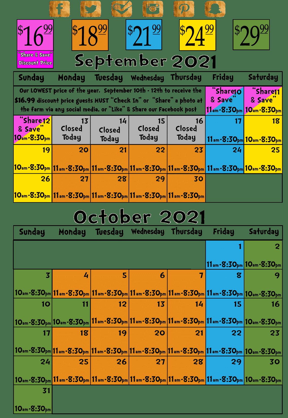 2021 Calendar hours and prices Bengtson Farm